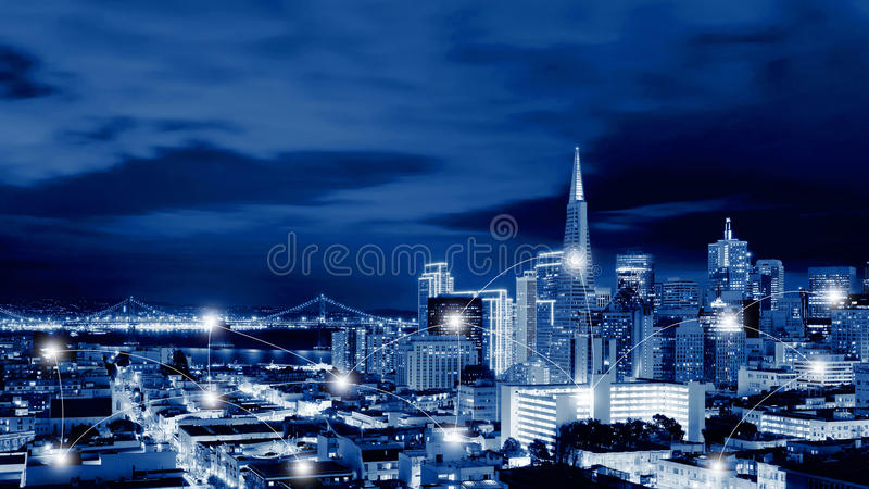 Network and Connection Technology Concept of San Francisco Skyline , California, USA stock image