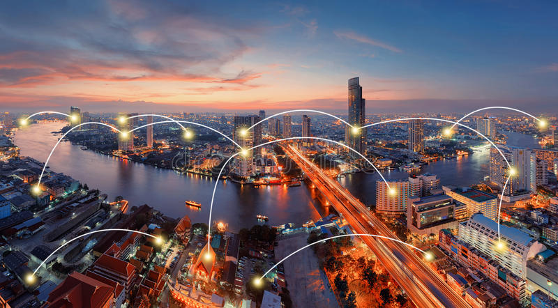 Network and Connection Technology Concept of U-Curve of Chao Phraya River, Bangkok City, Thailand royalty free stock images