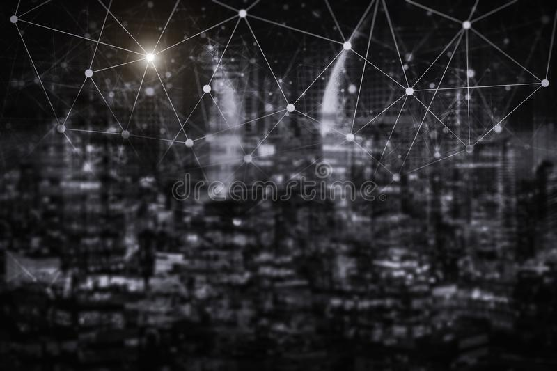 Network connection technology with night city. E-commerce community life in modern city. stock photo