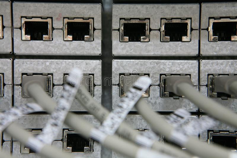 Network Connections Going Into Rack Free Stock Photography