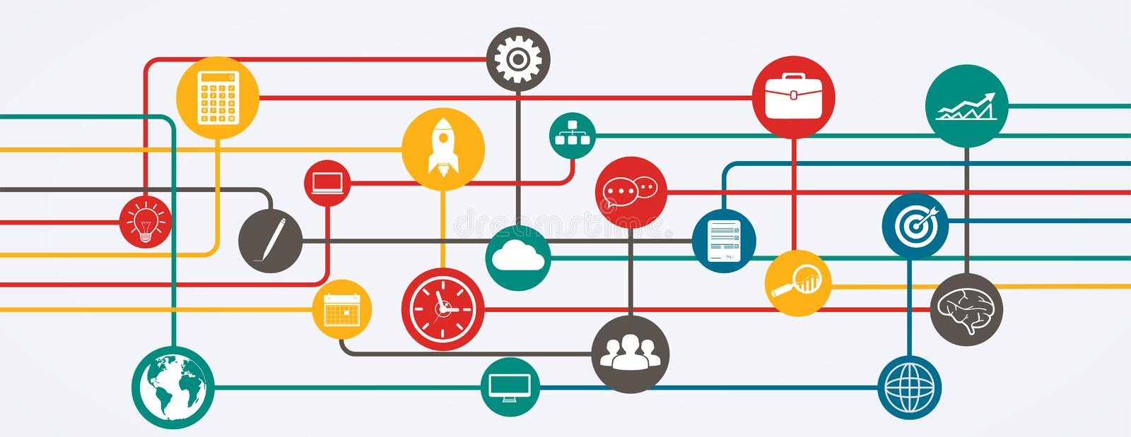 Network connections, information flow with icons in horizontal position. Illustration royalty free illustration