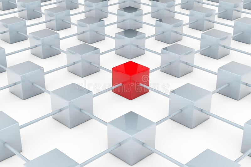Network of cubes. Network of many gray cubes with red one in the middle royalty free illustration