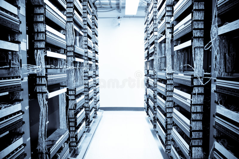 Network data center. A shot of servers and hardwares in an internet data center