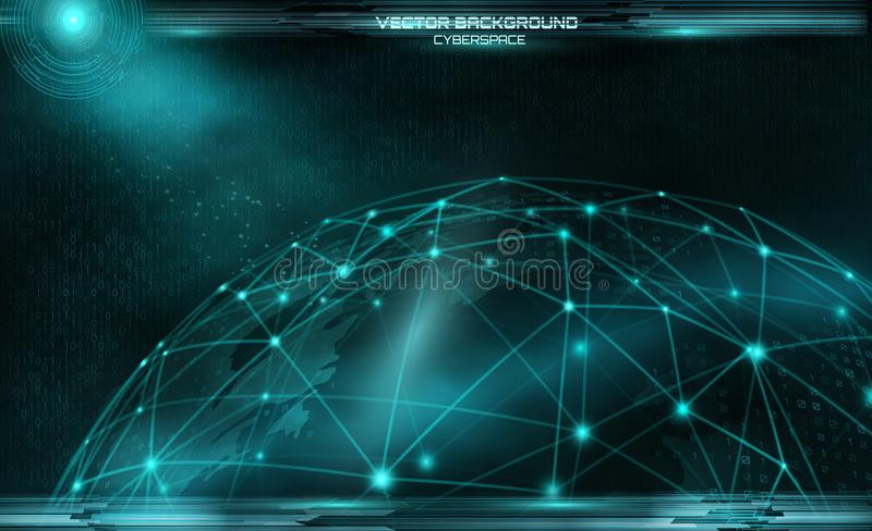 Network and data exchange over planet earth in space virtual spa royalty free illustration