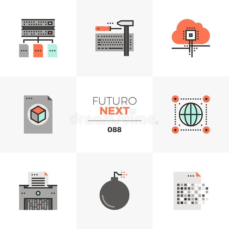 Network Data Futuro Next Icons. Modern flat icons set of general data protection regulation. Unique color flat graphics elements with stroke lines. Premium vector illustration