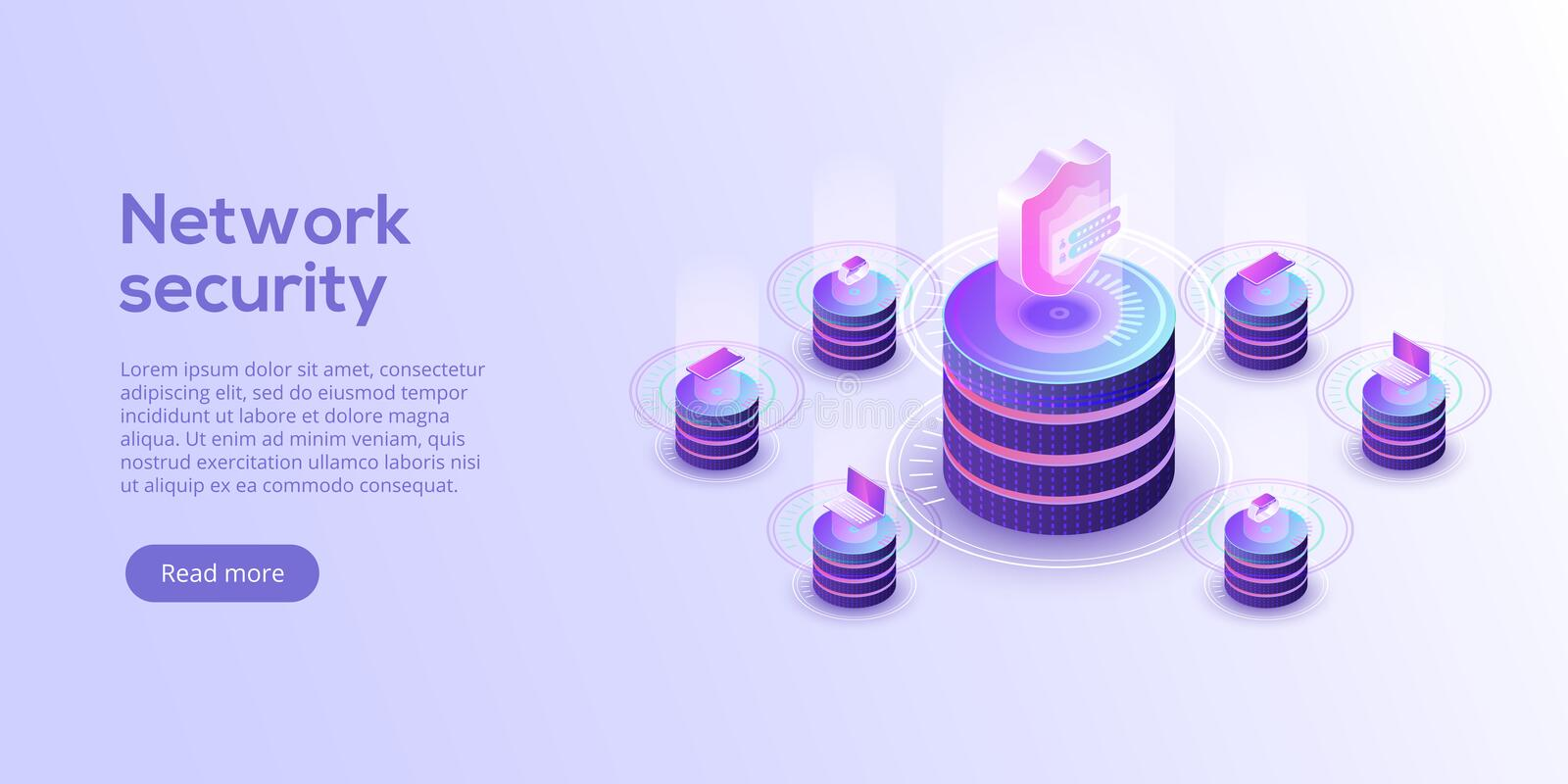 Network data security isometric vector illustration. Online server protection system concept with datacenter or stock illustration