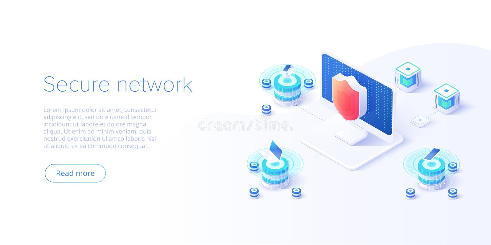 Network data security isometric vector illustration. Online server protection system concept with datacenter or blockchain. Secure royalty free illustration