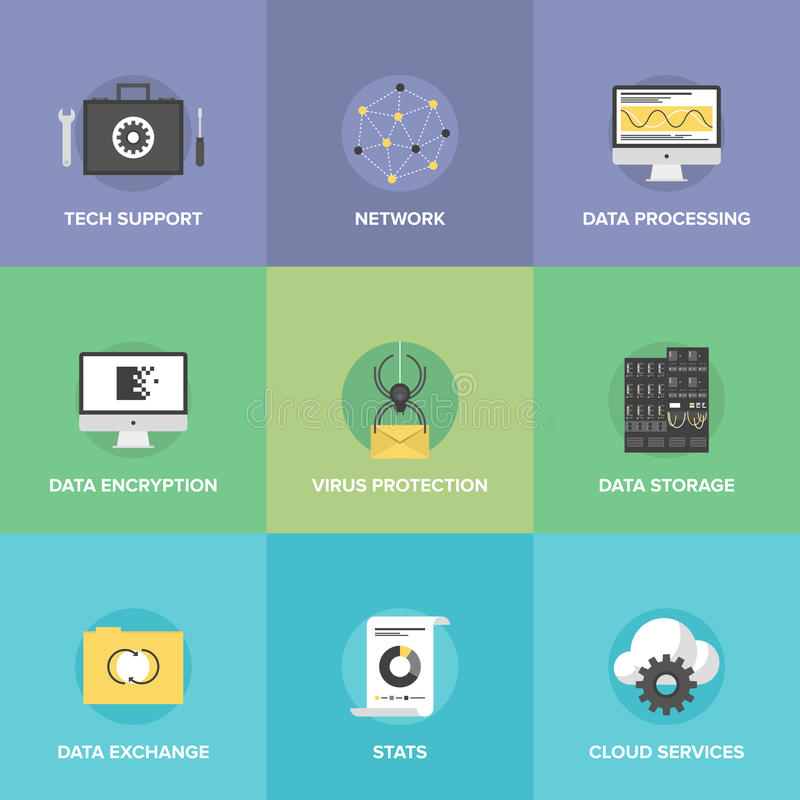 Network data services flat icons set. Flat icons set of big data storage protection, cloud computing communication services, technical support, network