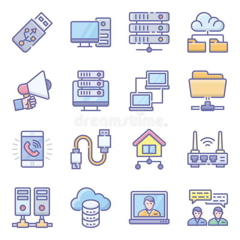 Network Devices Flat Icons Pack stock illustratie