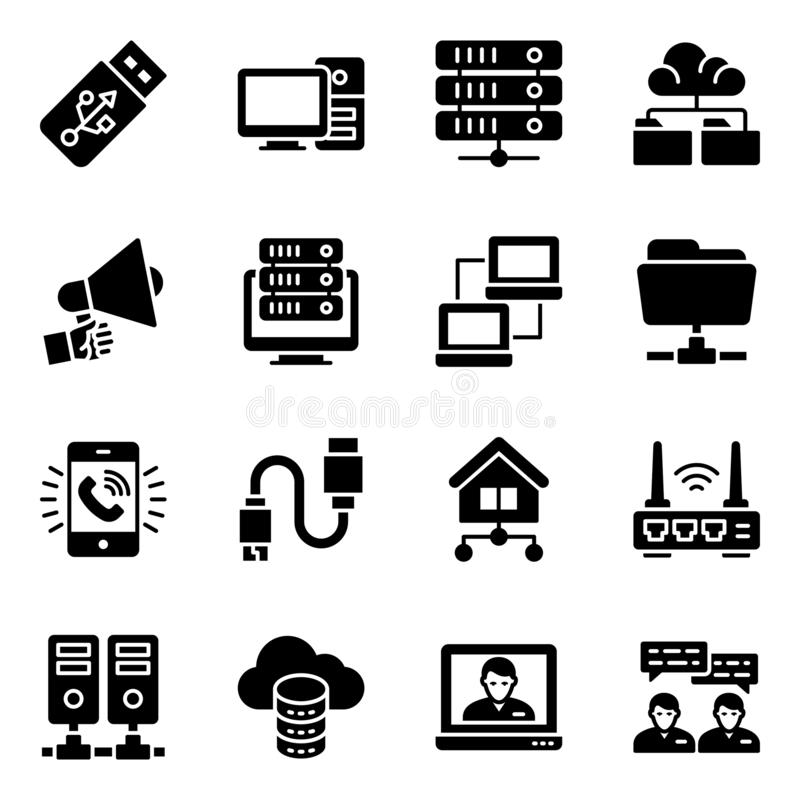 Network Devices Glyph Icons Pack stock illustratie