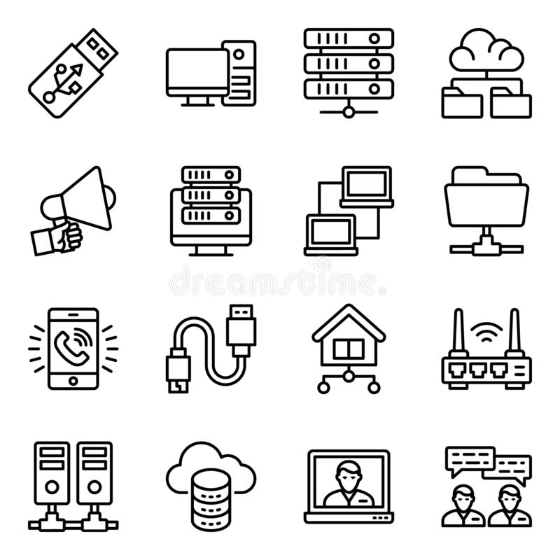 Network Devices Line Icons Pack vector illustratie