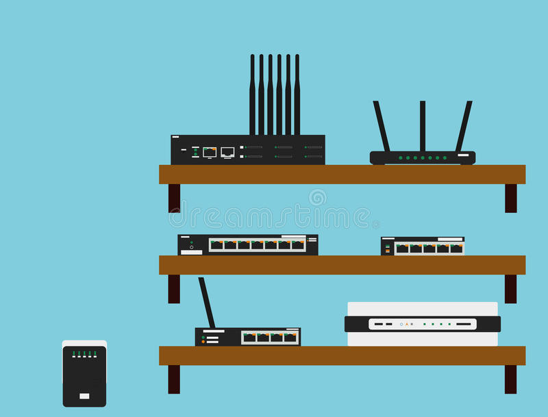 Network devices. Seven Network devices including Router, Switch, Hub, Repeater, Bridge, B-Router and Gateway stock illustration