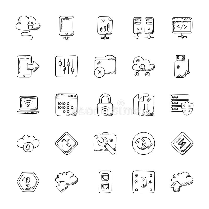 Network and Communication Doodle Icons Set. This Network Doodle Icons are great infographic vectors set for explaining how the world is totally connected these stock illustration