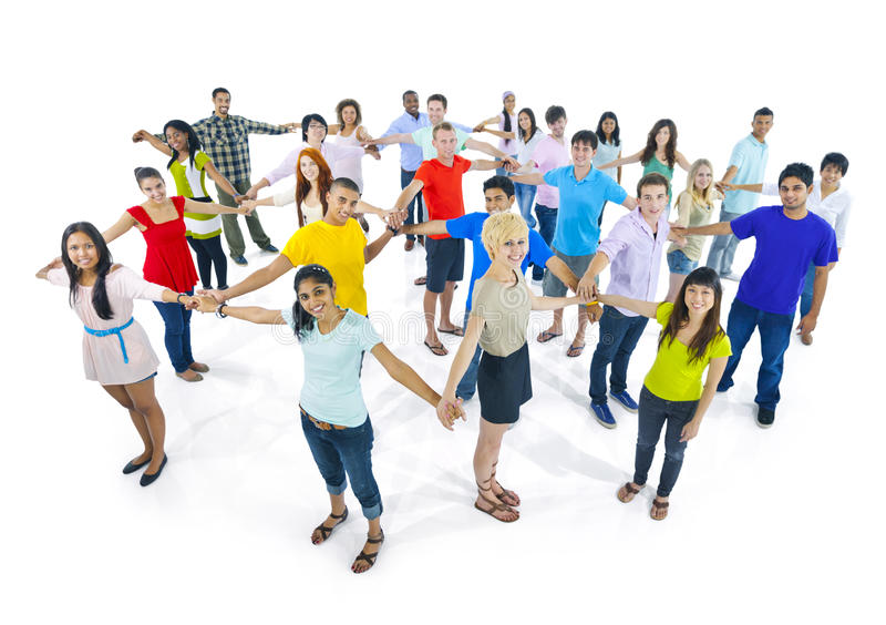 Network extremely diverse group young people Concept stock photo