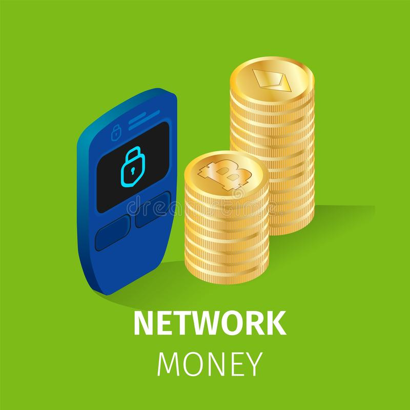 Network Finance Cryptocurrency Money Square Banner. Network Money Square Banner. Pile of Golden Bitcoin and Etherium Coins Stand near Electrical Lock on Green vector illustration
