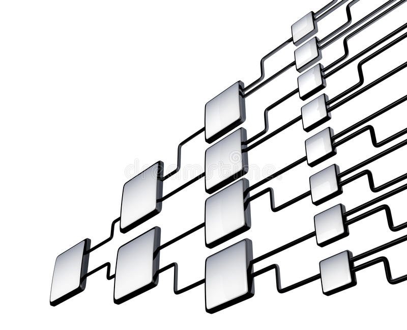 Network flowchart graph management. On white royalty free illustration