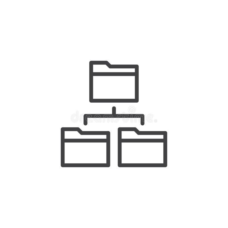 Network folders line icon vector illustration