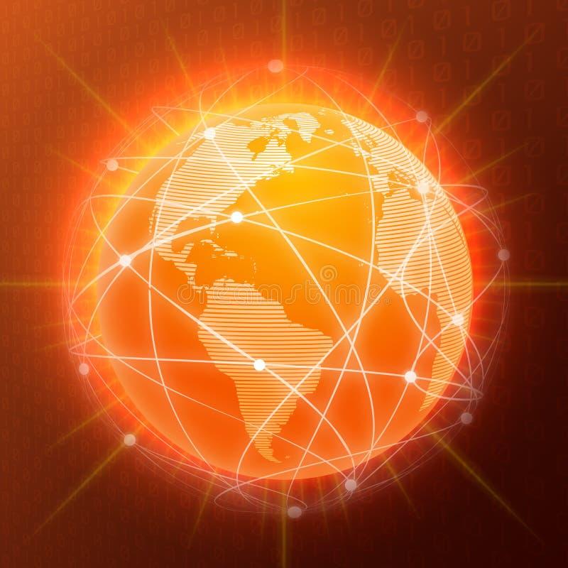 Network globe concept orange vector illustration