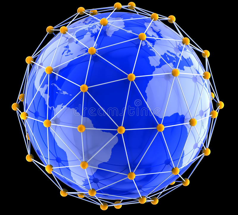 Download Network on globe stock illustration. Image of development - 34120620