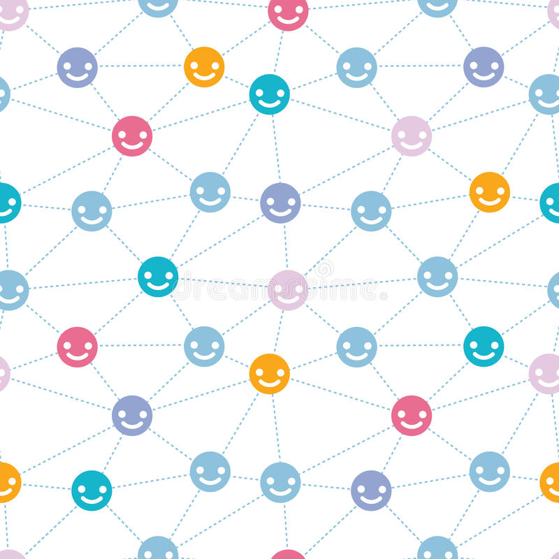 Network of happy faces seamless pattern background stock photos