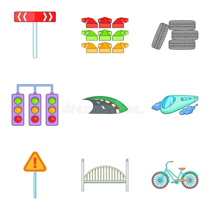 Network of highways icons set, cartoon style. Network of highways icons set. Cartoon set of 9 network of highways vector icons for web isolated on white royalty free illustration
