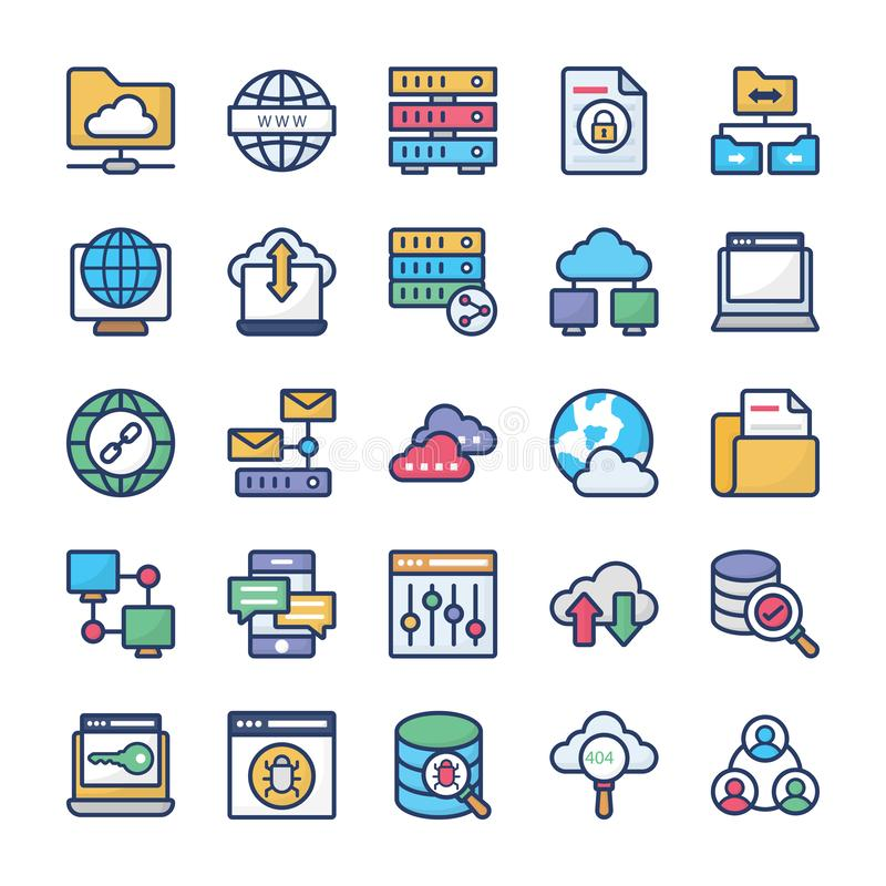 Network Hosting and Servers Flat Icons Set vector illustration