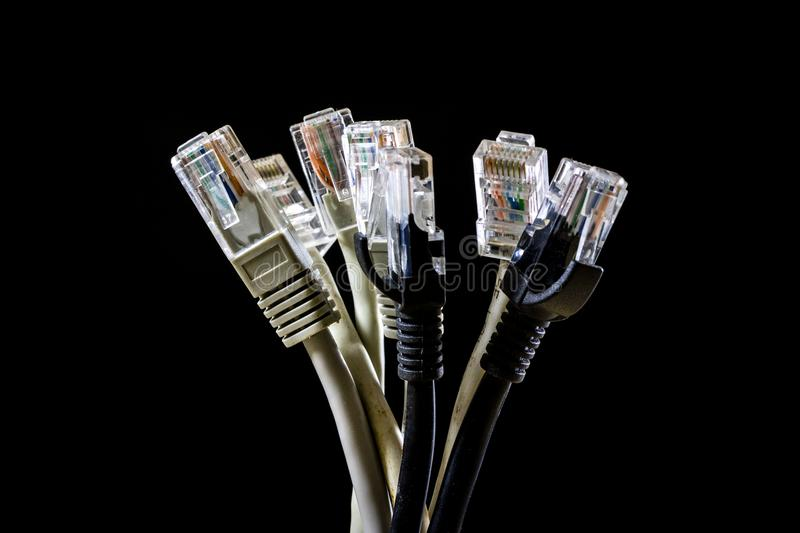 Download Network Hub And Rj45 Cables On The Stage. Computer Accessories U Stock Photo - Image of connect, closeup: 104802832
