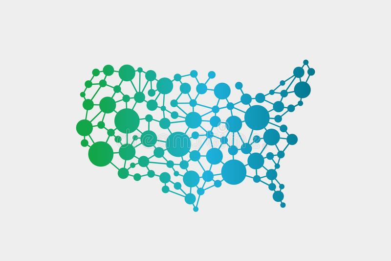 USA United States Network Map Vector Graphic Design Stock Vector