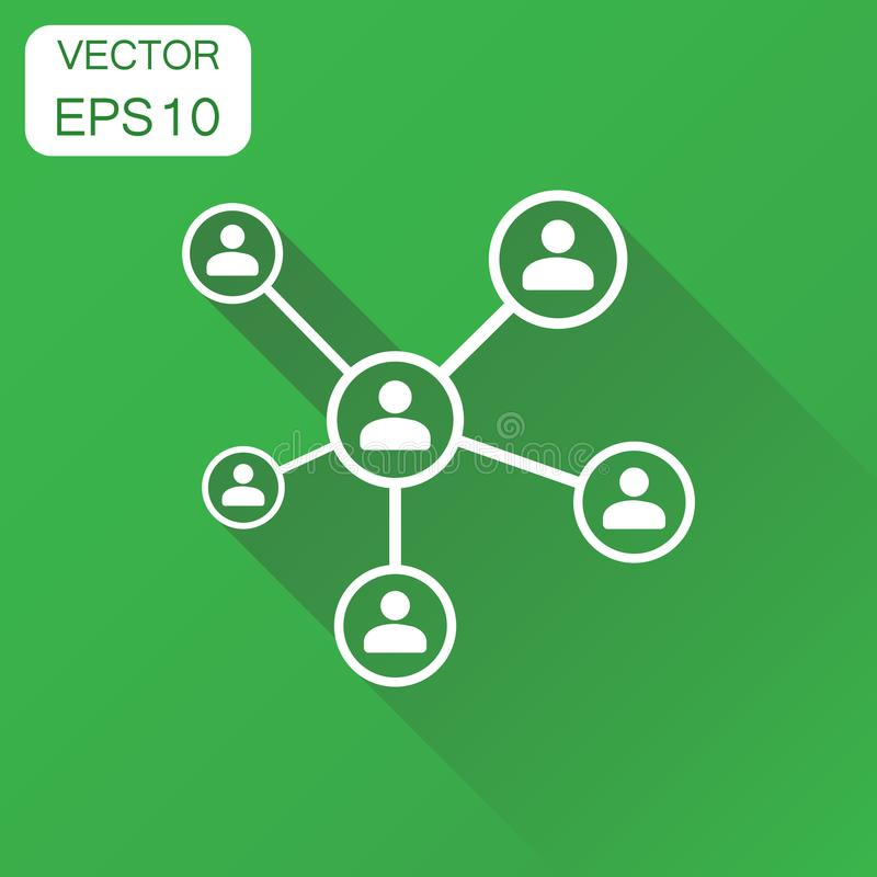 Network icon. Business concept people connection pictogram. Vector illustration on green background with long shadow. vector illustration