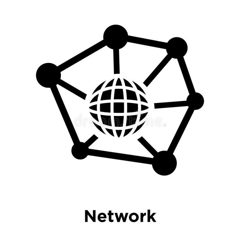 Network icon vector isolated on white background, logo concept o. F Network sign on transparent background, filled black symbol royalty free illustration