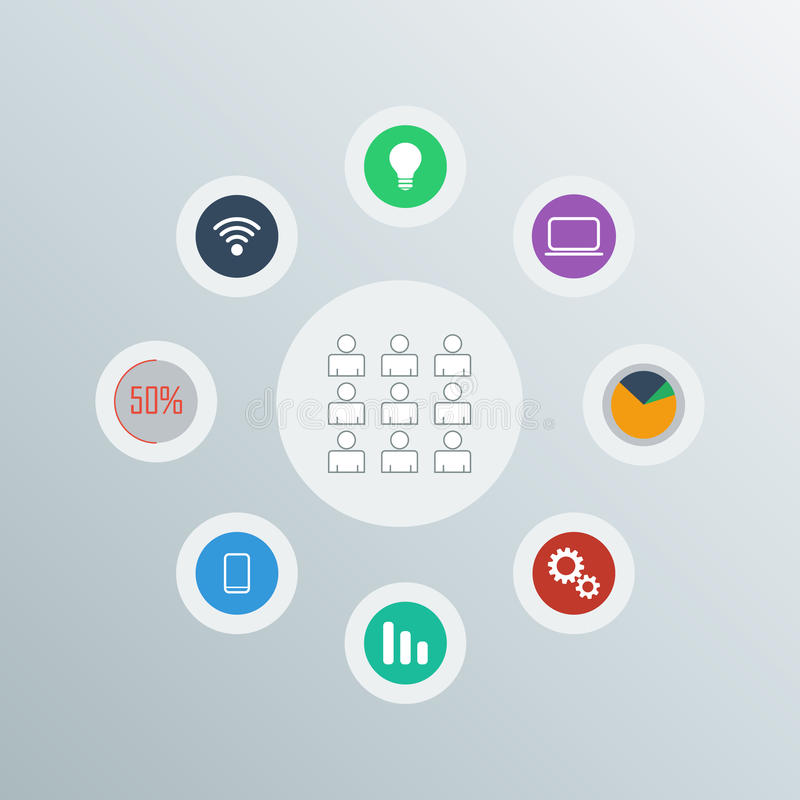 Network icons vector set stock illustration