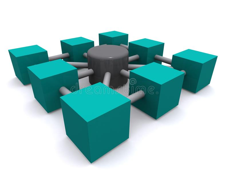 Network illustration. Interconnected, three-dimensional cubes around a central hub representing a network stock illustration