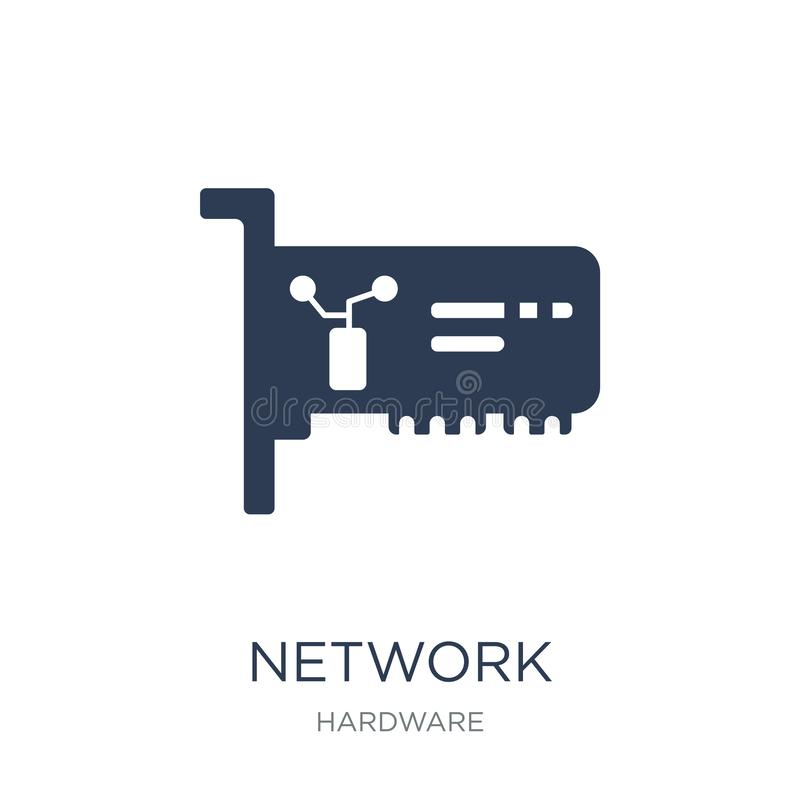 Network Interface Card icon. Trendy flat vector Network Interface Card icon on white background from hardware collection. Vector illustration can be use for stock illustration