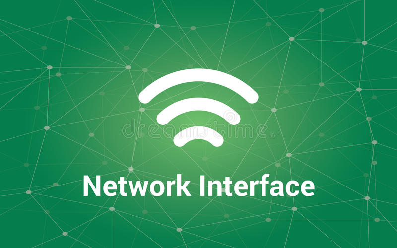 Network interface white text illustration with green constellation as background and signal bar icon. Vector vector illustration