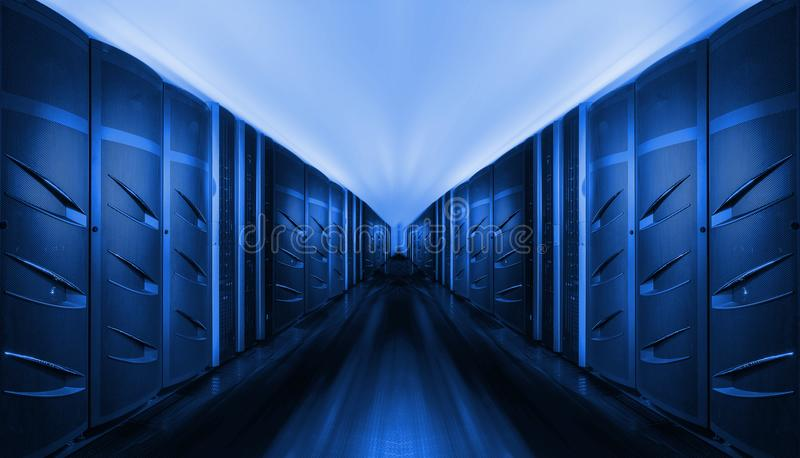 Network and internet communication technology concept, data center interior, server racks with telecommunication. Room with rows of server hardware in the data royalty free illustration