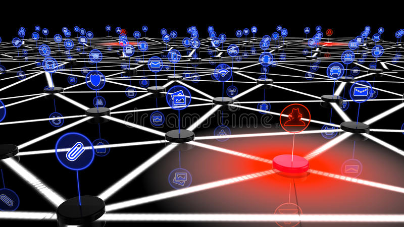 Network of internet of things attacked by a multiple hackers. Network of internet of things attacked by hackers on one node, a 3D illustration showing black vector illustration