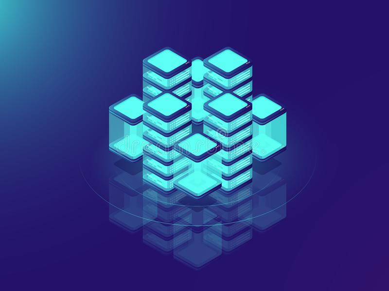 Network or mainframe infrastructure, server room and datacenter, futuristic supercomputer, isometric vector illustration. On neon dar background vector illustration