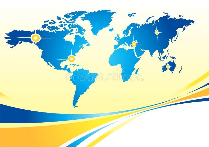 Network on map. International network concept on blue world map vector illustration