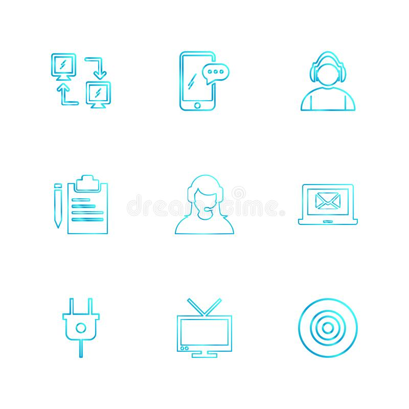 Network , mobile , chat , employee , laptop, dart , plug , clipboard ,tv, eps icons set vector. Network , mobile , chat , employee , laptop, dart , plug royalty free illustration