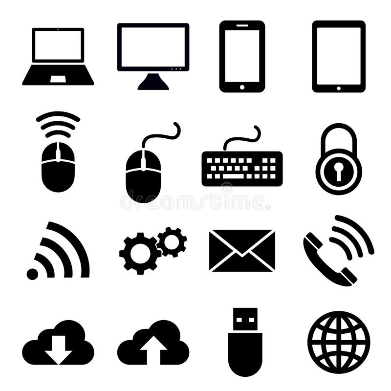 Network and mobile devices icons royalty free illustration