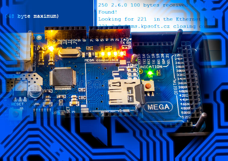 Network module. Communication of a single-chip microcontroller AVR using a network module Ethernet royalty free stock photos