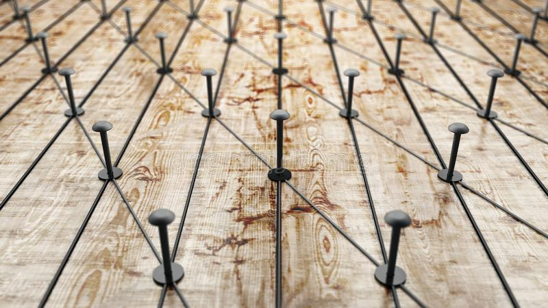 Network, networking, connect, wire. Linking entities. Network of gold wires on rustic wood. 3D Rendering. vector illustration