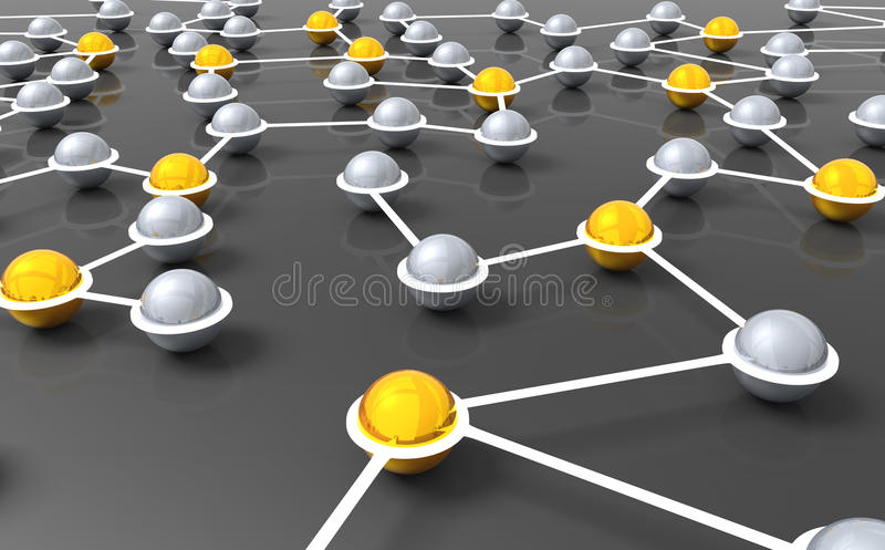 Network Nexus. 3D illustration of silver and golden nexus balls connected with a neon network, symbolizing networking and connectivity stock illustration
