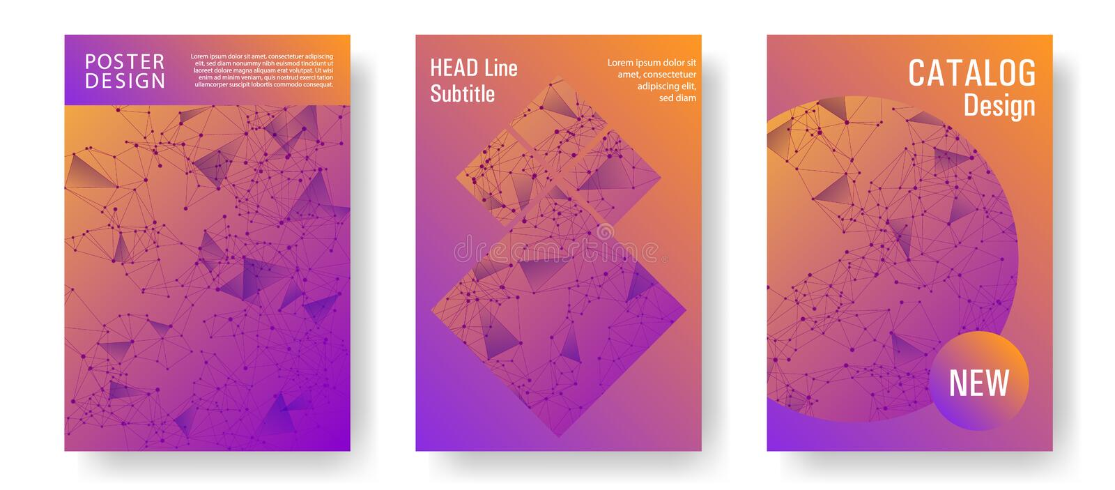 Network nodes information technology cover. Stylish cover layout design. Global network connection polygonal grid. Interlinked nodes, atom, web or big data vector illustration