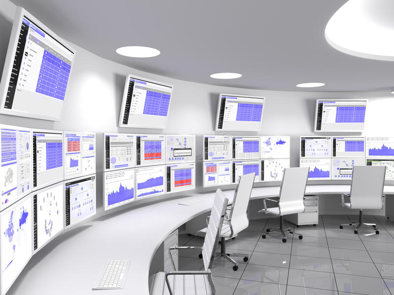 Network Operations Centervit stock illustrationer