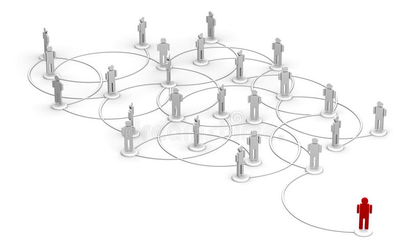 Network organization. Interconnected people figures representing networking or organization stock illustration