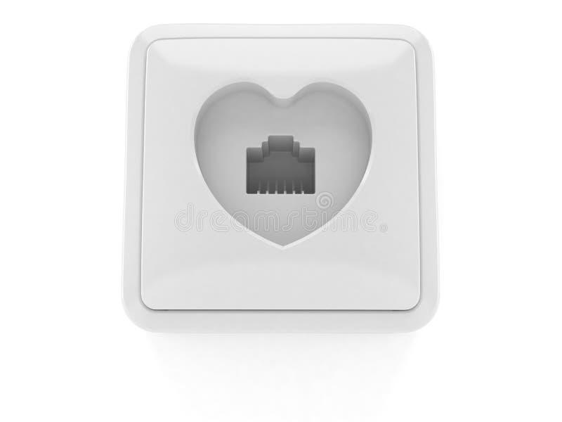 Network Outlet In Heart Symbol Stock Illustration Illustration Of