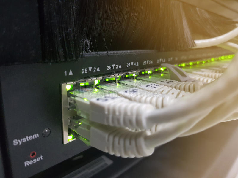 Network panel, switch and cable in data center royalty free stock photo