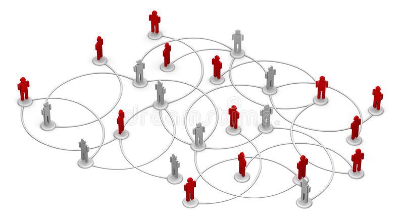 Network of People. High resolution 3D illustration of people linked to a network royalty free illustration