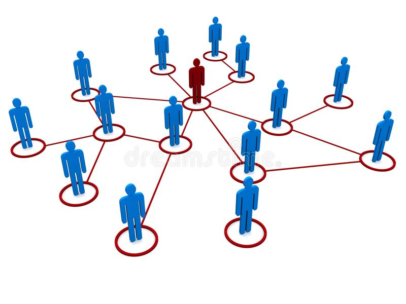 Network of people. A network of people in red and blue royalty free illustration